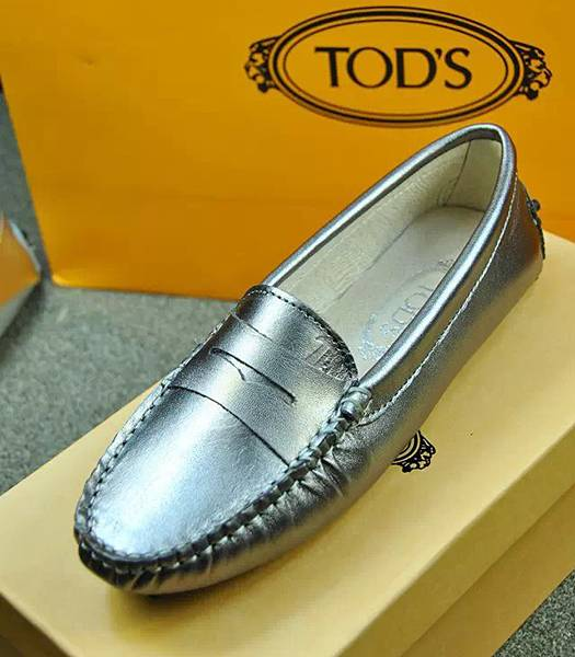 Tod's Cow Leather Doug Silver Shoes