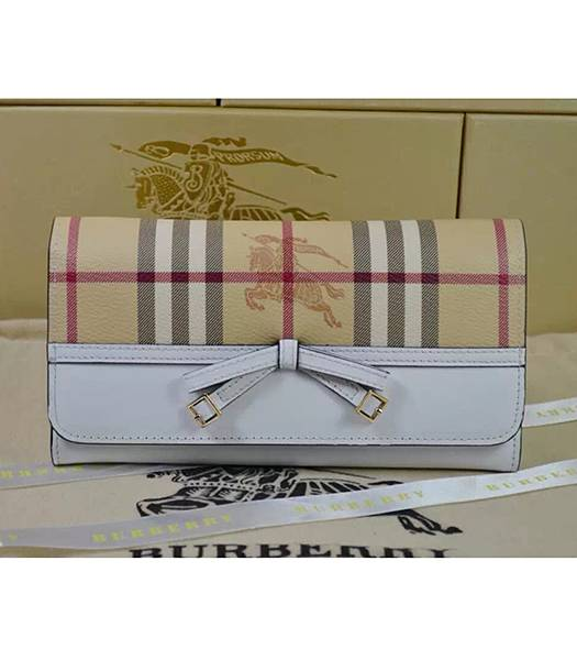 Burberry Original Calfskin Leather Bow-knot Wallet White