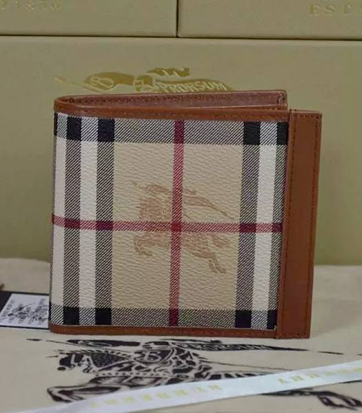 Burberry Calfskin Leather Horseferry Check Small Wallet Brown