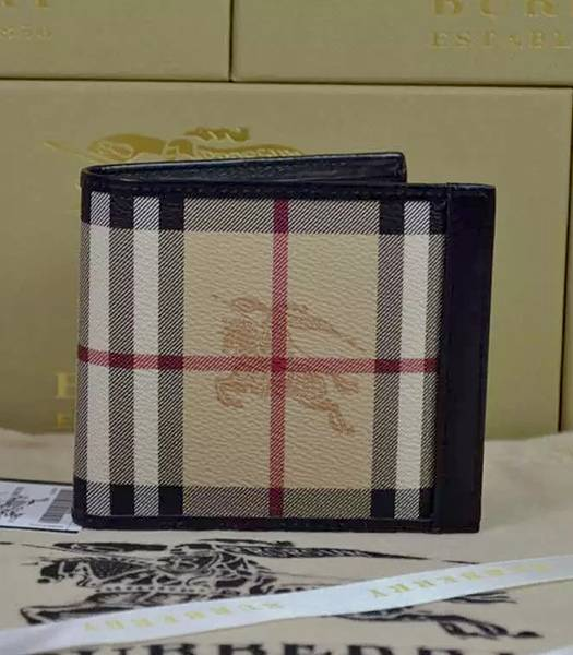 Burberry Calfskin Leather Horseferry Check Small Wallet Black