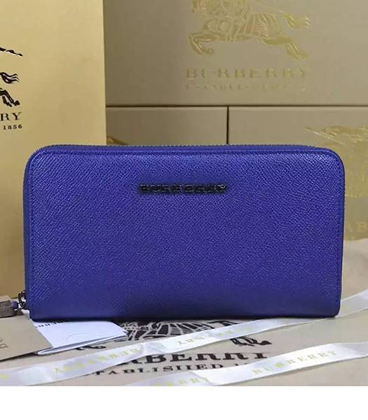 Burberry New Style Original Palmprint Leather Long Wallet Blue