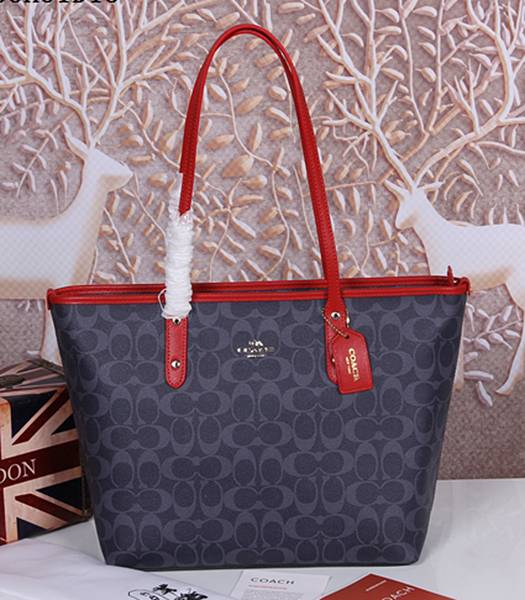 Coach 36876 Signature City Zip Tote Bag Deep Grey&Rose Red