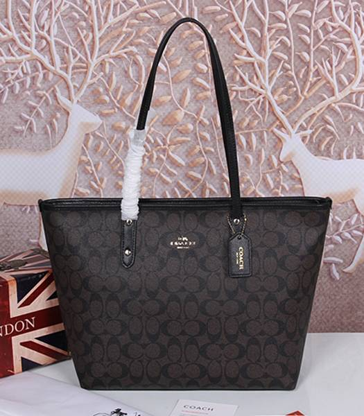 Coach 36876 Signature City Zip Tote Bag Black