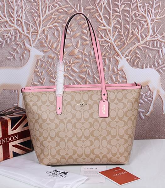 Coach 36876 Signature City Zip Tote Bag Khaki&Pink
