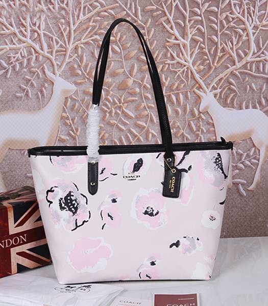 Coach Peanuts Snoopy 37273 Pink Leather Tote Bag