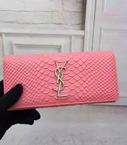 YSL Snake Veins Calfskin Leather Long Wallet Pink