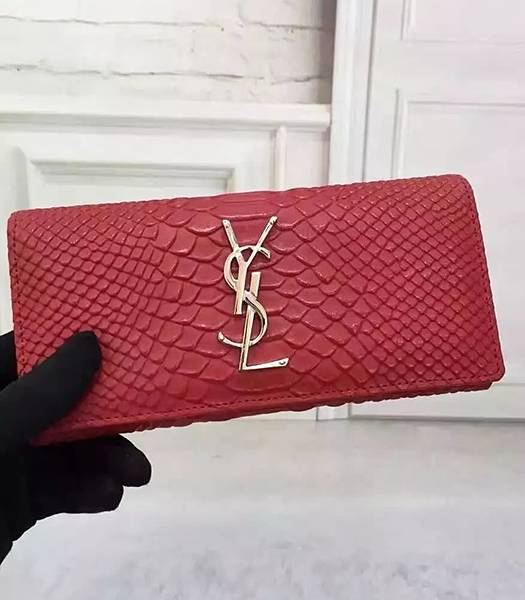 YSL Snake Veins Calfskin Leather Long Wallet Red