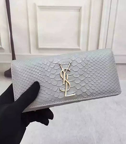 YSL Snake Veins Calfskin Leather Long Wallet Grey