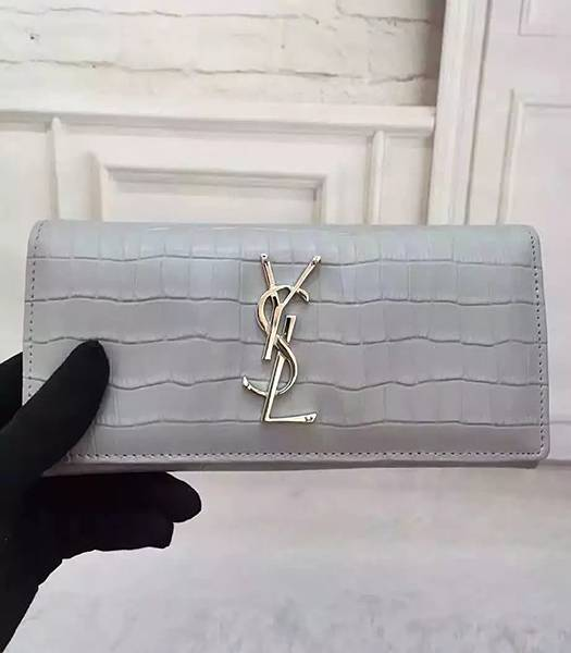 YSL Croc Veins Calfskin Leather Long Wallet Grey