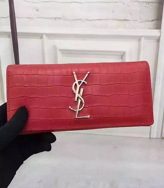 YSL Croc Veins Calfskin Leather Long Wallet Red