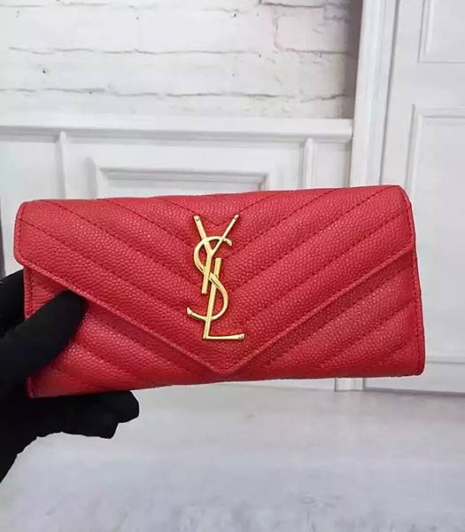 Yves Saint Laurent Caviar Calfskin Leather Wallet Red