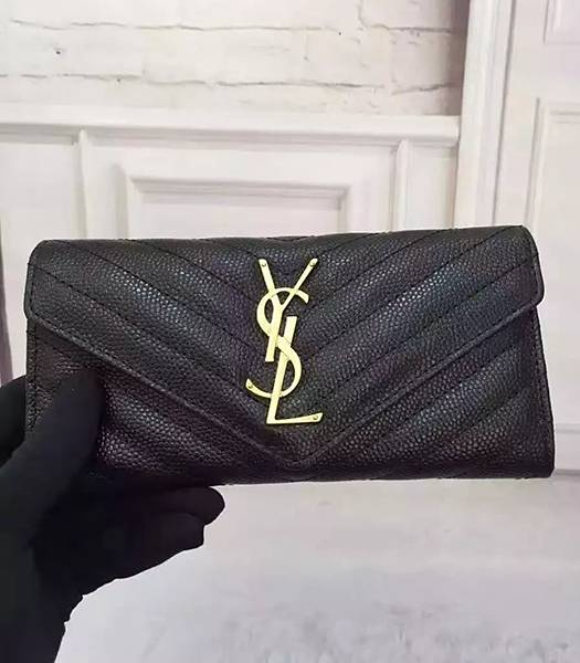 Yves Saint Laurent Caviar Calfskin Leather Wallet Black