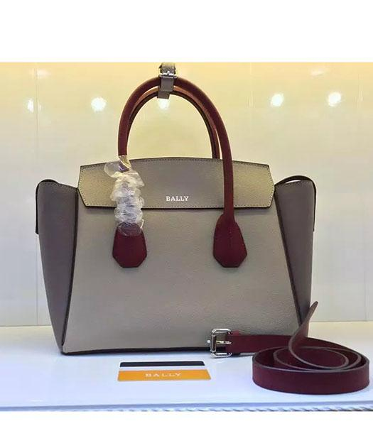 Bally Latest Design Grey Leather 28cm Top Handle Bag
