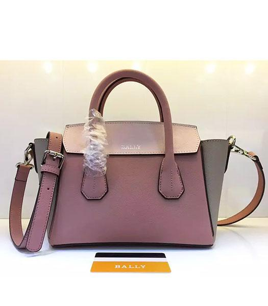 Bally Latest Design Pink Leather 28cm Top Handle Bag