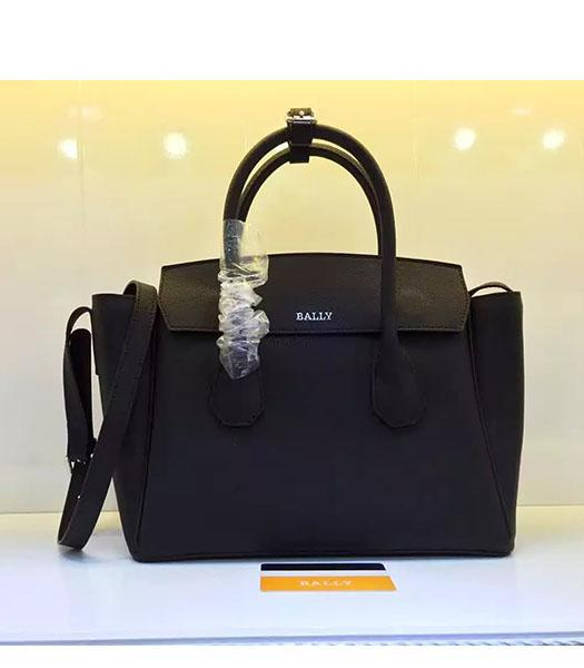 Bally Latest Design Black Leather 28cm Top Handle Bag