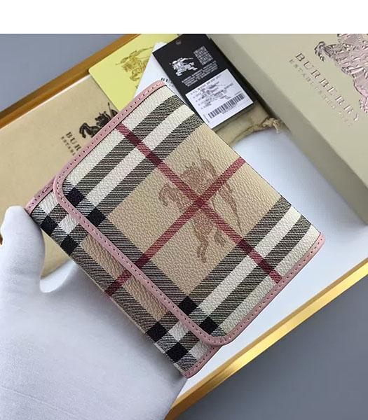 Burberry Pink Calfskin Leather Check Small Wallet