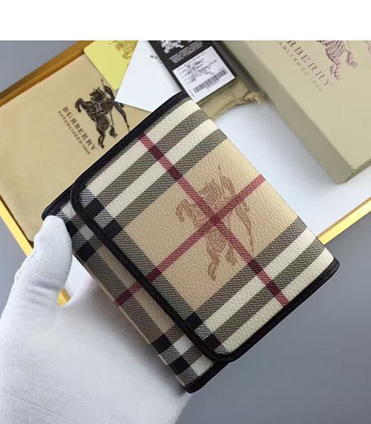 Burberry Coffee Calfskin Leather Check Small Wallet