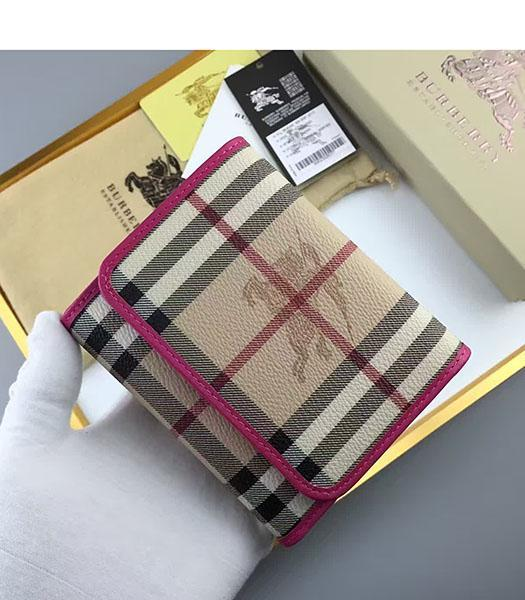Burberry Rose Red Calfskin Leather Check Small Wallet