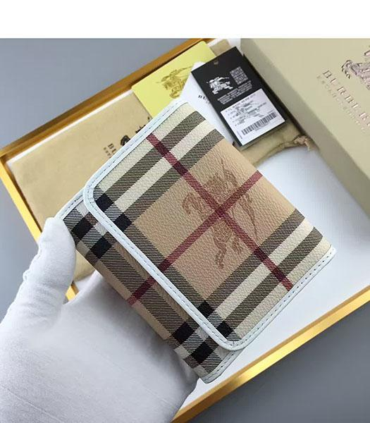 Burberry White Calfskin Leather Check Small Wallet