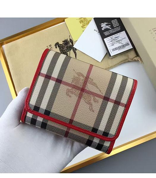 Burberry Red Calfskin Leather Check Small Wallet