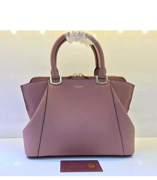 Cartier New Style 32cm Pink Leather Top Handle Bag