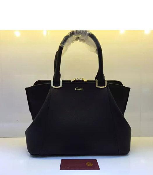 Cartier New Style 32cm Black Leather Top Handle Bag