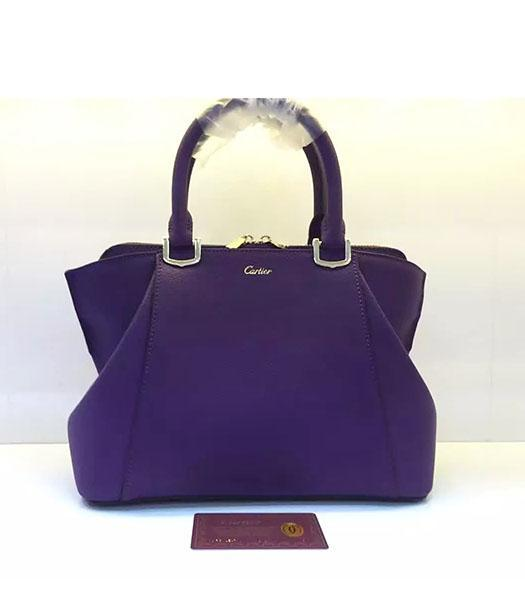 Cartier New Style 32cm Purple Leather Top Handle Bag