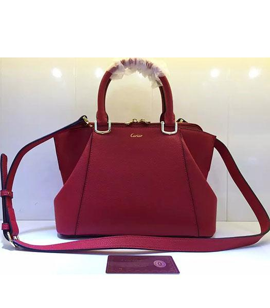 Cartier New Style 32cm Red Leather Top Handle Bag