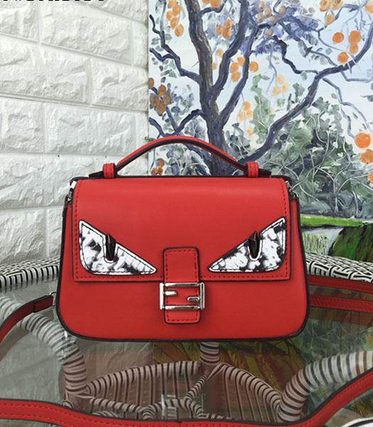 Fendi Mirco Double Baguette Monster Red&Electric Blue Leather Small Bag