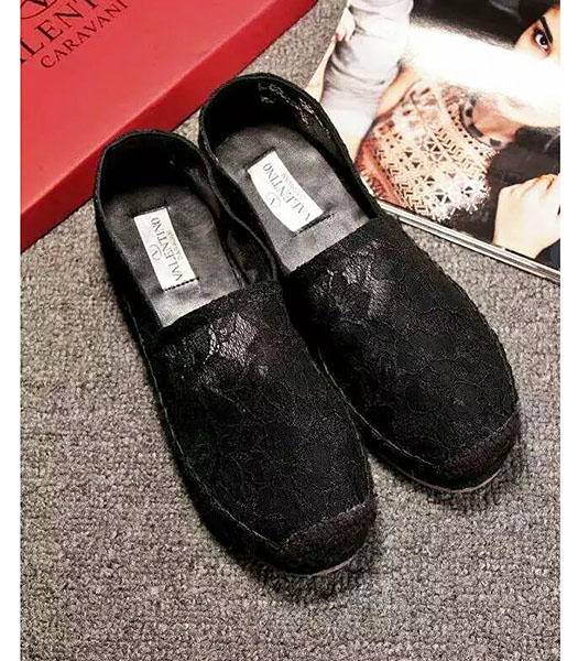 Valentino Lace Fisherman Causal Flat Shoes In Black
