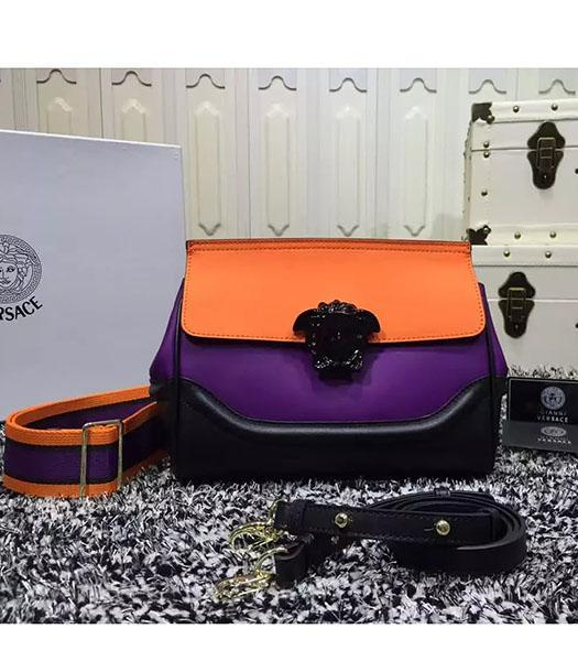 Versace Palazzo Empire Medusa Leather Shoulder Bag Orange&Black&Purple