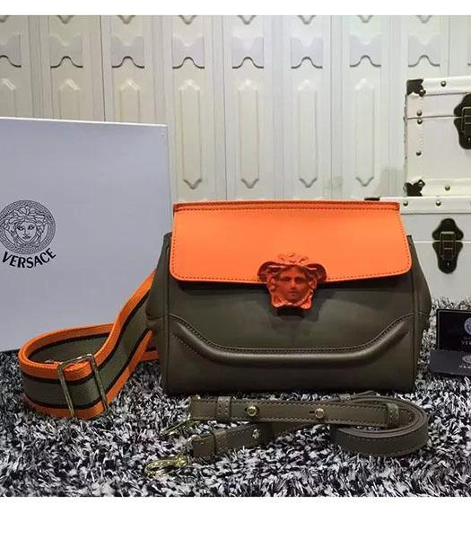 Versace Palazzo Empire Medusa Leather Shoulder Bag Orange&Khaki