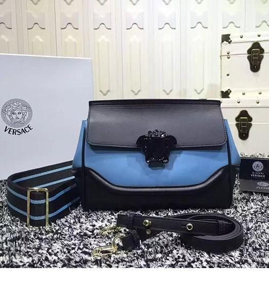 Versace Palazzo Empire Medusa Leather Shoulder Bag Black&Blue