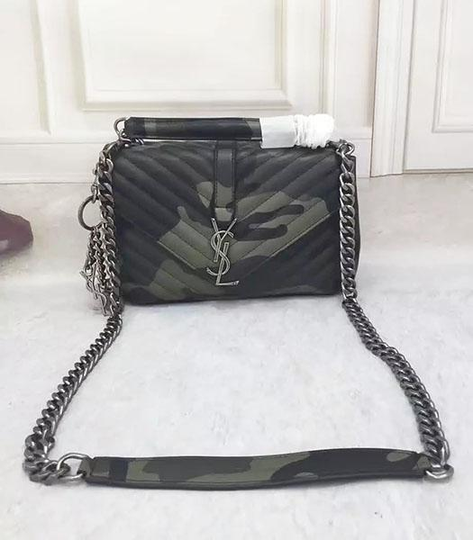 Ysl Monogramme Army Green Calfskin Leather Camouflage Flap