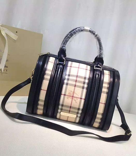 Burberry Check Canvas With Black Leather Classic Boston Tote Bag