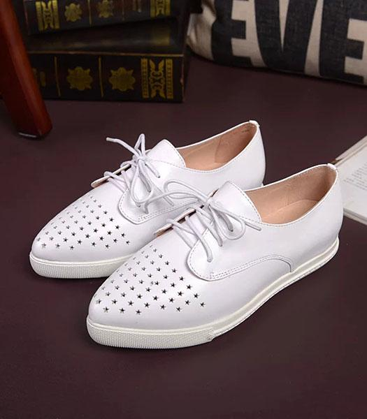 Dolce&gabbana Calfskin Leather Hollow Casual Flat Shoes In White