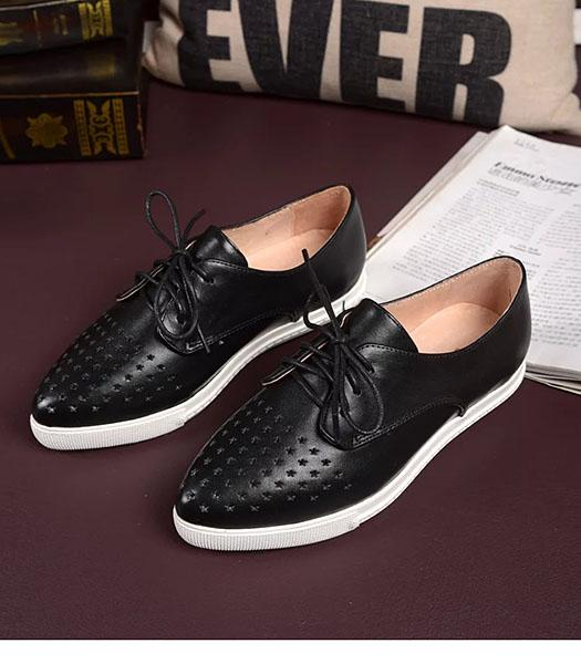 Dolce&gabbana Calfskin Leather Hollow Casual Flat Shoes In Black