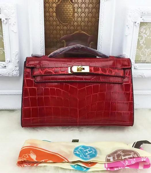 Hermes Kelly 22cm Croc Veins Wine Red Leather Tote Bag Golden Metal