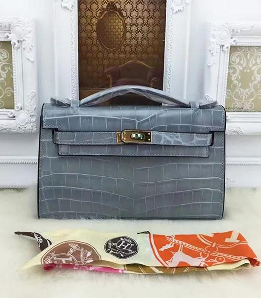 Hermes Kelly 22cm Croc Veins Grey Blue Leather Tote Bag Golden Metal