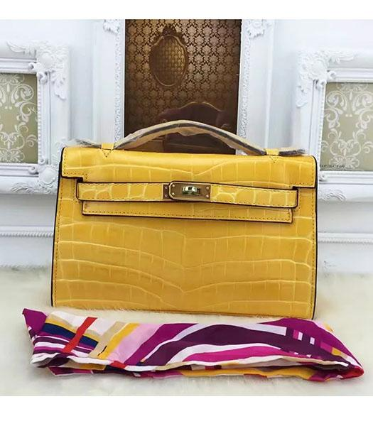 Hermes Kelly 22cm Croc Veins Yellow Leather Tote Bag Golden Metal