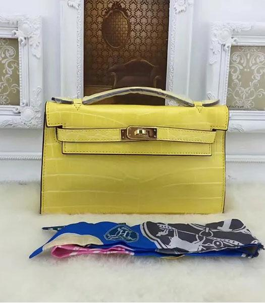 Hermes Kelly 22cm Croc Veins Lemon Yellow Leather Tote Bag Golden Metal