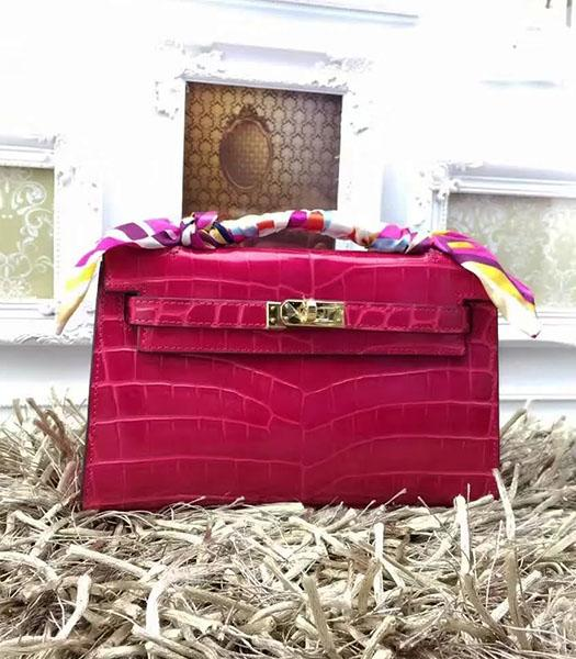 Hermes Kelly 22cm Croc Veins Fuchsia Leather Tote Bag Golden Metal