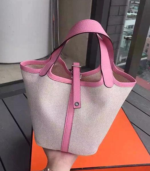 Hermes Picotin Lock Fabric With Pink Original Leather Small Bag