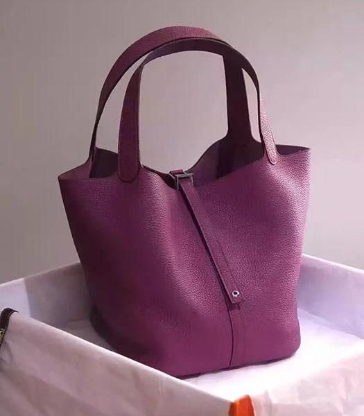 Hermes Picotin Lock Purple Imported Original Leather Small Shoulder Bag