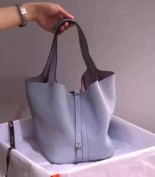 Hermes Picotin Lock Light Blue Imported Original Leather Small Shoulder Bag