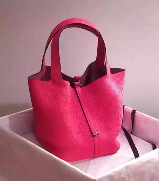 Hermes Picotin Lock Rose Red Imported Original Leather Small Shoulder Bag