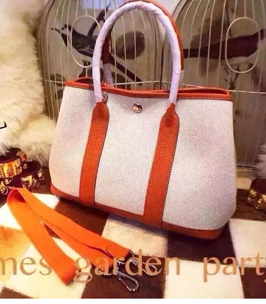 Hermes 32cm Fabric With Orange Leather Garden Party Tote Bag