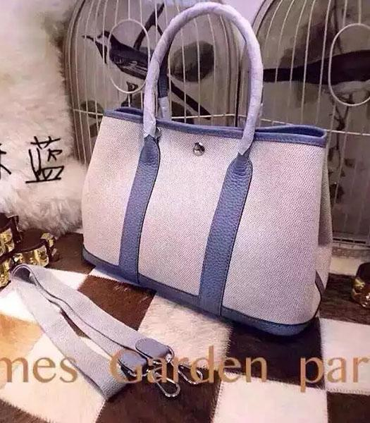 Hermes 32cm Fabric With Light Blue Leather Garden Party Tote Bag