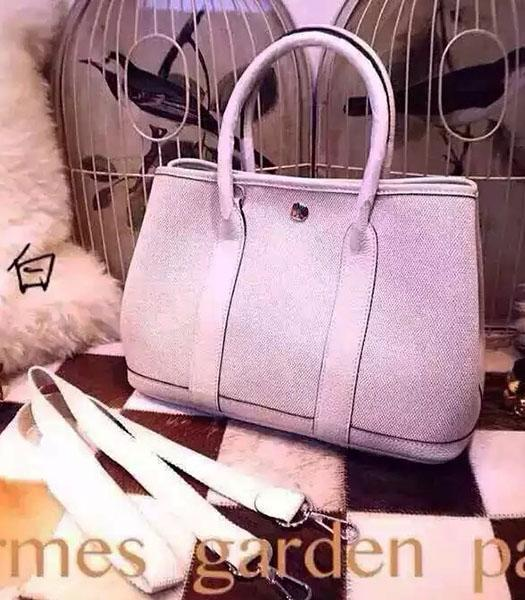 Hermes 32cm Fabric With White Leather Garden Party Tote Bag