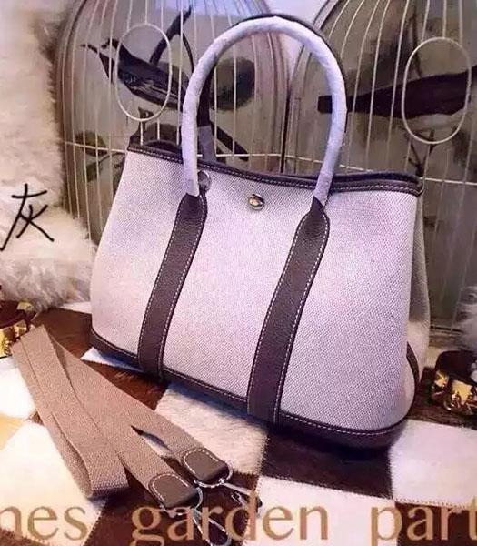 Hermes 32cm Fabric With Elephant Grey Leather Garden Party Tote Bag